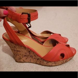 Leather open toed wedge sandals